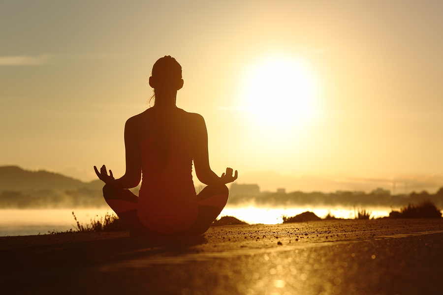 Silhouette Of A Fitness Woman Exercising Yoga Meditation Exercis