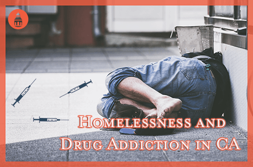 homeless man in california laying next to multiple drug needles