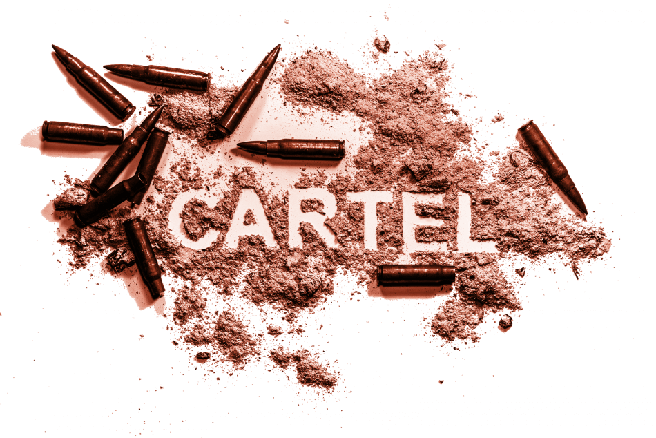 cartel written in gunpowder and meth next to bullets